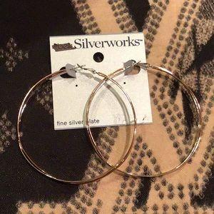 Belk large hoops silver plate earrings